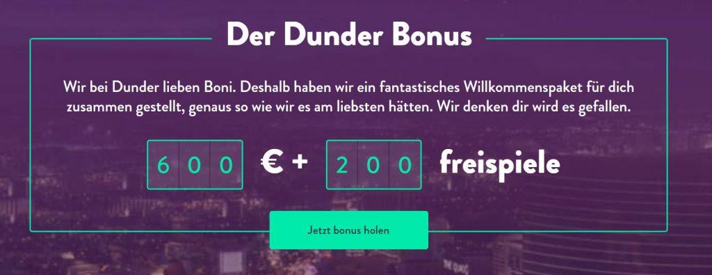 Roulette Bonus bei Dunder